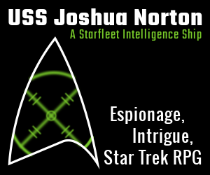 A Star Trek delta with green laser gun sight with the words USS Joshua Norton, A Starfleet Intelligence Ship, Espionage, Intrigue, Star Trek RPG